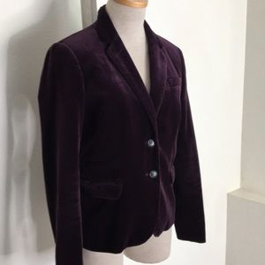 J. Crew Schoolboy Purple Velvet Blazer Size 6